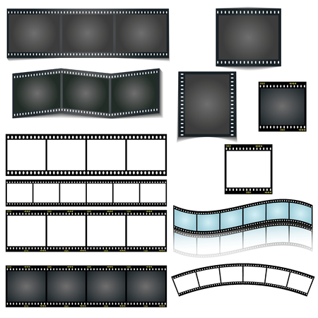 isolated vector film strip set on white background Ilustração