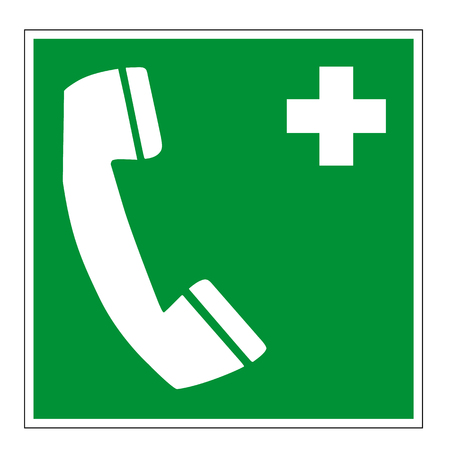 Rescue sign E004 safety phone isolated on white background, prohibition sign Standard-Bild - 124273760
