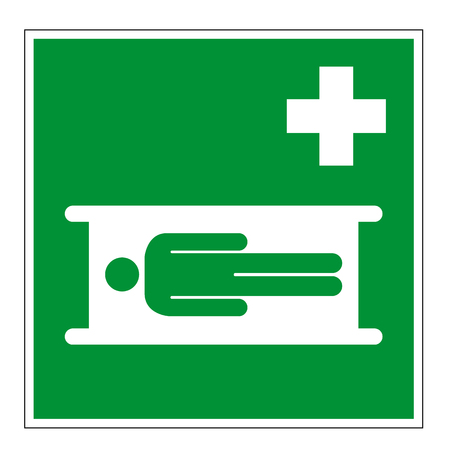 Rescue sign E013 DIN7010 safety stretcher isolated on white background, prohibition sign