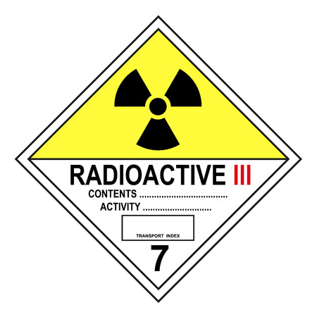 ADR class 7 C radioactive sign isolated on white background