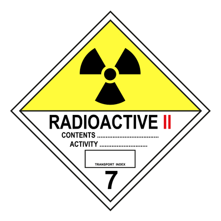 ADR class 7 B radioactive sign isolated on white background Ilustração
