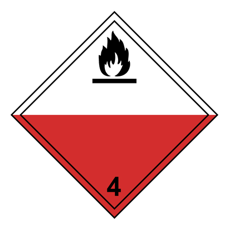ADR class 4 sign flammable isolated on white background
