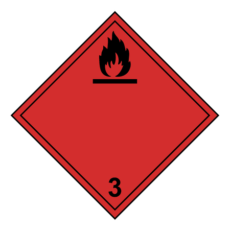 ADR class 3 sign flammable isolated on white background