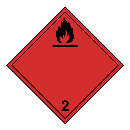 ADR class 2 sign flammable isolated on white background