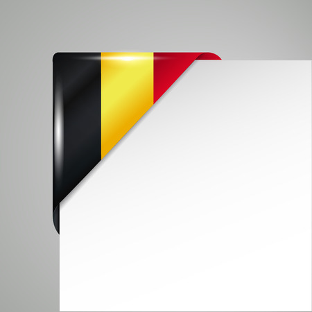 metallic belgium flag corner isolated vector illustration Ilustração