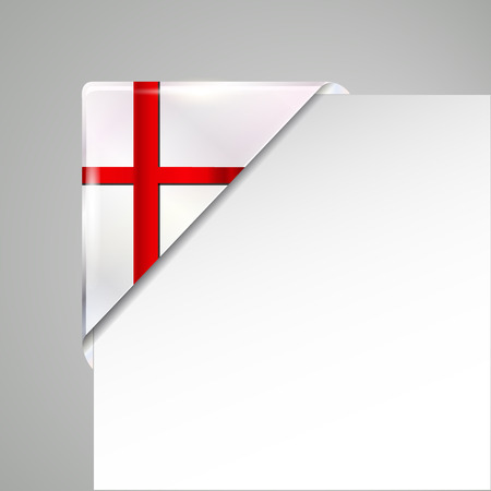 metallic england flag corner isolated vector illustration