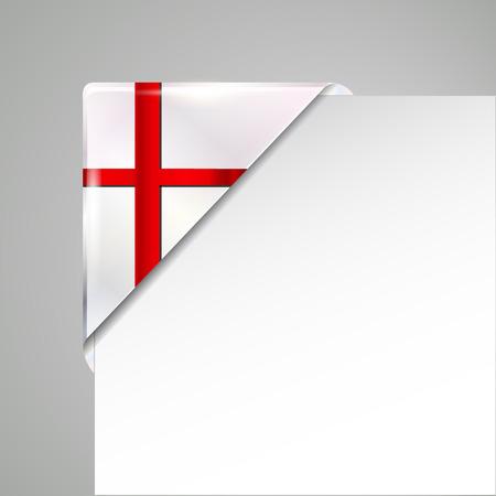 metallic england flag corner isolated vector illustration