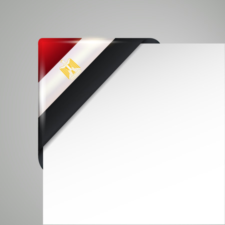 metallic egypt flag corner isolated vector illustration Illustration