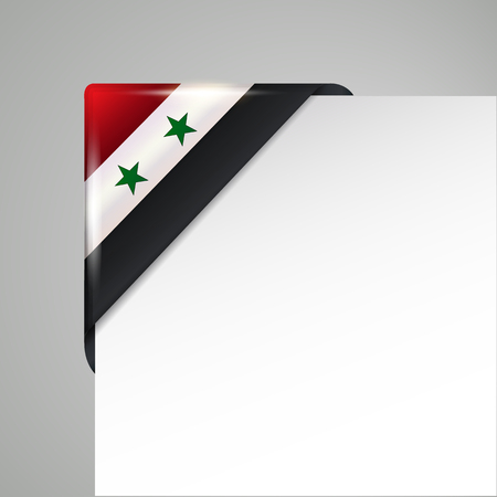 metallic syria flag corner isolated vector illustration