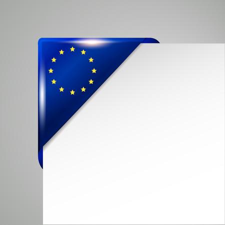 metallic EU flag corner isolated vector illustration Illustration