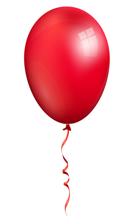 Single realistic 3d red balloon isolated on white background Illustration