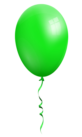 Single realistic green 3d balloon isolated on white background Illustration