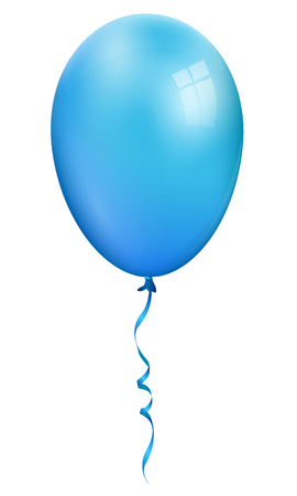 Single realistic blue 3d balloon isolated on white background Ilustração