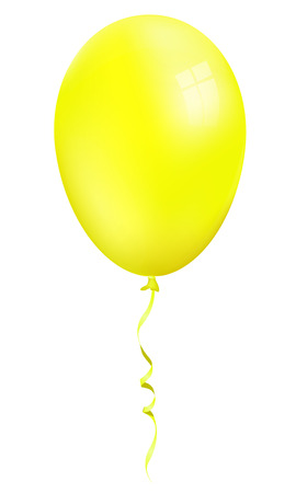 Single realistic yellow 3d balloon isolated on white background Illustration