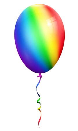 Single realistic rainbow 3d balloon isolated on white background Ilustração
