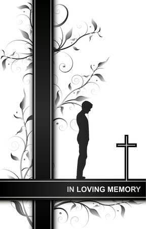 Mourning card in loving memory with a man on a cross and floral elements isolated on white background