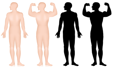 Set of male bodybuilder silhouette, biceps pose isolated on white background