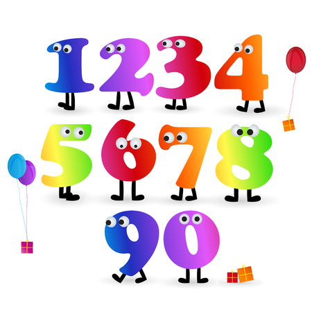 Birthday number vector set with rainbow colors isolated on white background Ilustração
