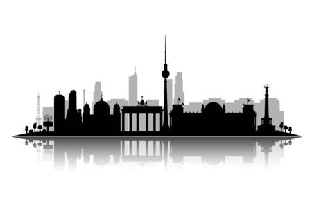 Berlin silhouette vector illustration isolated on white background with shadow 3d vector Illustration