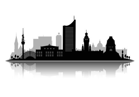 Leipzig silhouette vector illustration isolated on white background with shadow 3d vector Illustration