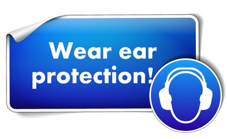 Wear protection sticker with sign isolated on white background Illustration