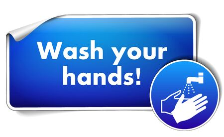 Wash your hands sign isolated on white background