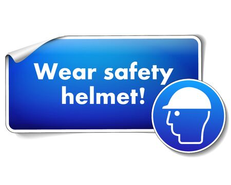 Wear safety helmet protection sticker isolated on white background Illustration