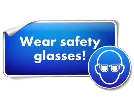 Wear safety sign with sticker isolated on white background Imagens - 128804939