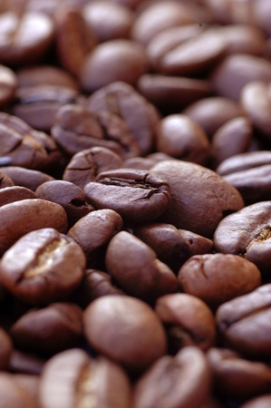 stimulated: Closeup Of Coffee Beans With Focus On One Bean