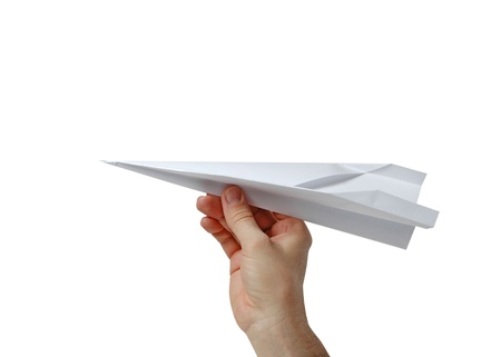 Men holding a paper plane photo