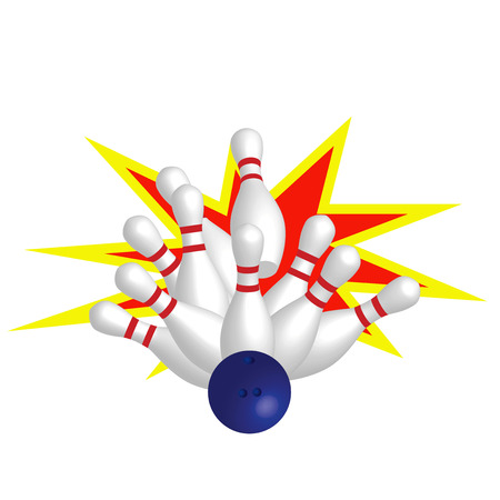 quilles: Skittles de blanc et bleu boule de Bowling  Illustration