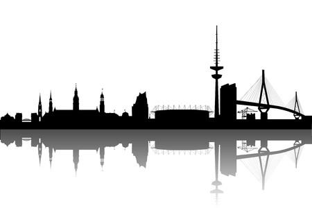 built tower: Resumen de la silueta de Hamburgo Vectores