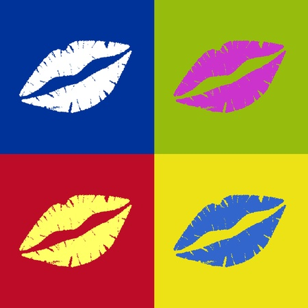 Vectored Lipstick Kiss Retro Vector