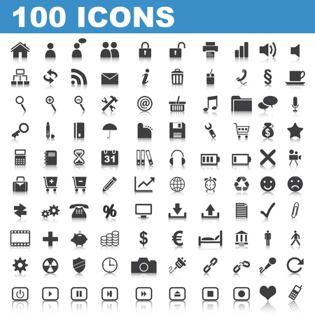 100 Web Icons Stock Vector - 9283500