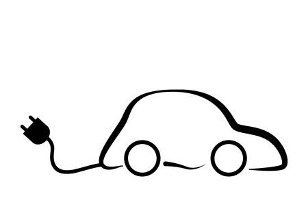 electric automobile: Ecocar Symbol Vector Illustration