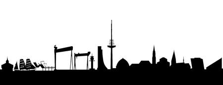 kiel:  Kiel Skyline abstract Illustration