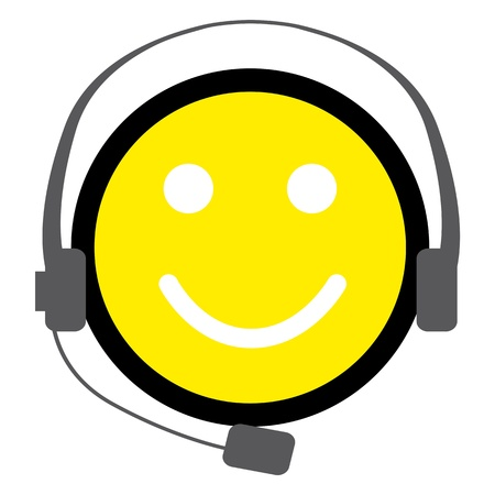 Funny Face with headphone Vector