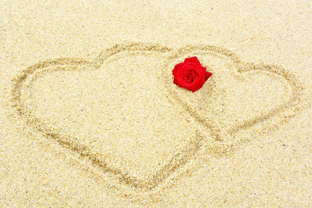 Two hearts in the sand photo