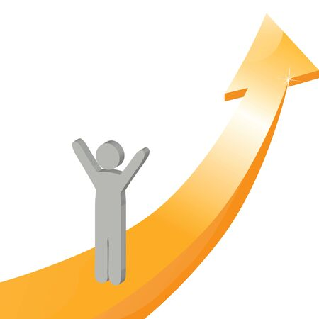 upwards: One arrow with one person Illustration