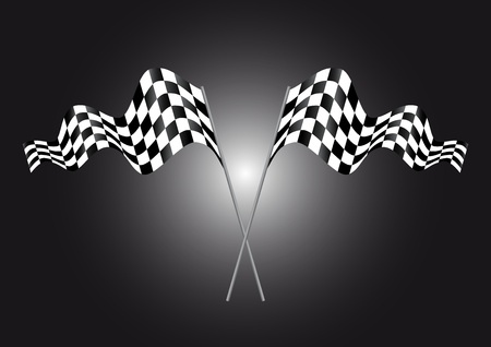 two crossed waving black and white Stock Vector - 9853883