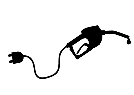 filling station: Petrol pump with plug Illustration