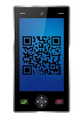 Smartphone with QR-Code Vector