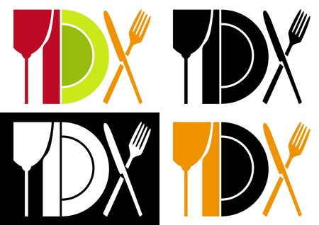 dinning table: Cook utensil abstract Illustration