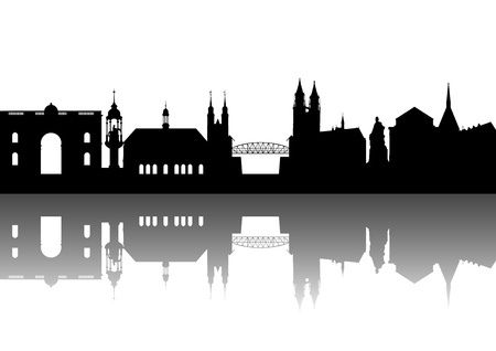 east germany: Magdeburg Silhouette abstract Illustration