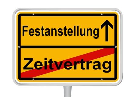 help wanted: Sign Festanstellung in German words
