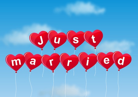 married couples: Just married balloons