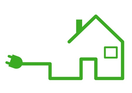 house energy: Casa con plug Vectores