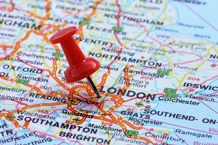 red pushpin: London with pin Stock Photo