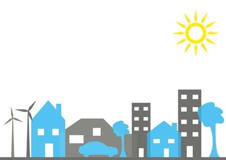 silhouette maison: une rue de la ville