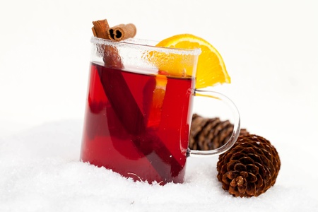 mulled: red tea with cinnamon in the snow